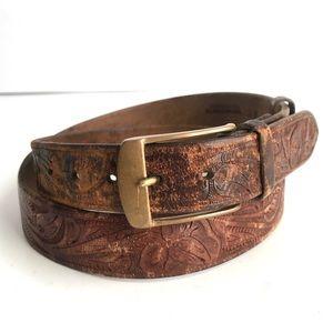 Vintage Hamley & Co Leather Belt Hans Tooled Brown